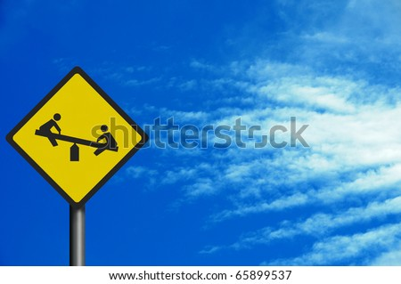 Bright, clean 'playground' road sign, with space for your text - photo realistic