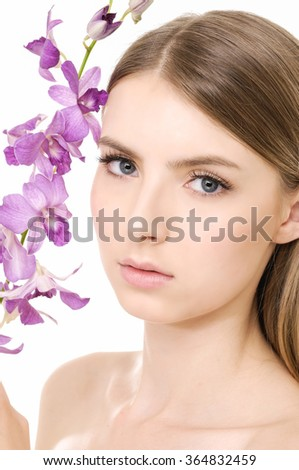 bright closeup beautiful with branch pink orchid  - stock photo