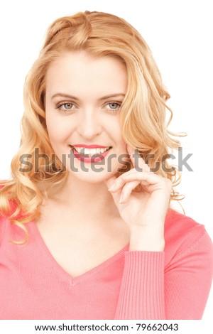 bright closeup picture of beautiful pensive woman - stock photo