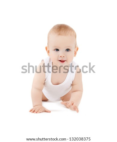 bright closeup picture of crawling curious baby - stock photo