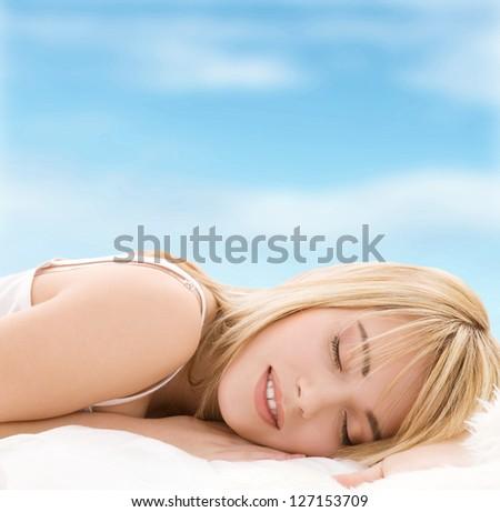 bright closeup picture of sleeping teenage girl - stock photo
