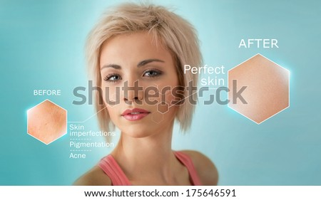Bright closeup portrait of beautiful woman with skin crops. Skincare concept - stock photo