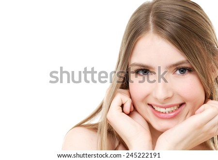 bright closeup portrait picture of beautiful smile woman