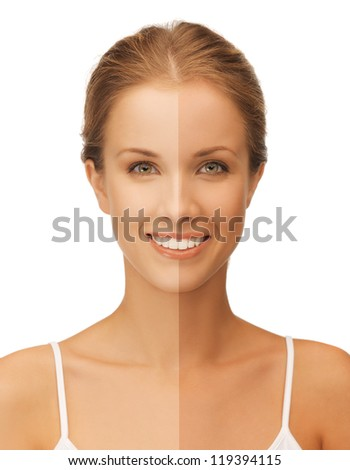 bright closeup portrait picture of beautiful woman with half face tanned - stock photo