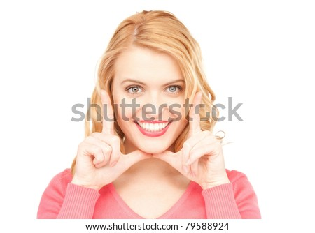 bright closeup portrait picture of happy woman - stock photo