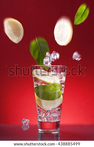 bright cocktail mojito - stock photo
