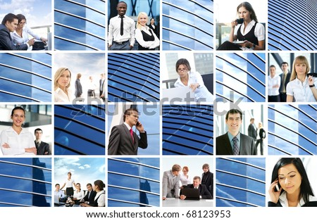 Bright collage made of many business pictures and modern textures - stock photo