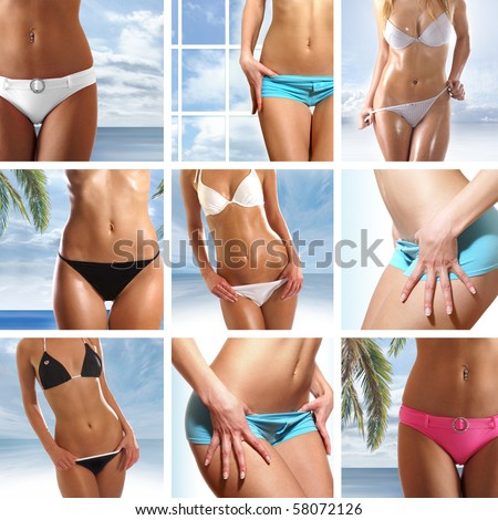 Bright collage made of nine belly pictures over abstract blue backgrounds - stock photo