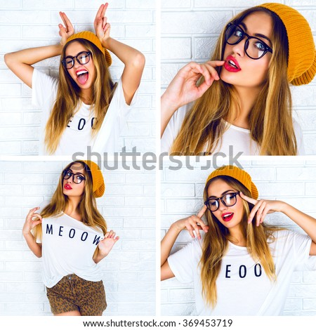 Bright collage of happy pretty funny hipster girl, having fun alone near brick wall, crazy faces, glasses, hat, set of woman student portraits, instagram style. - stock photo