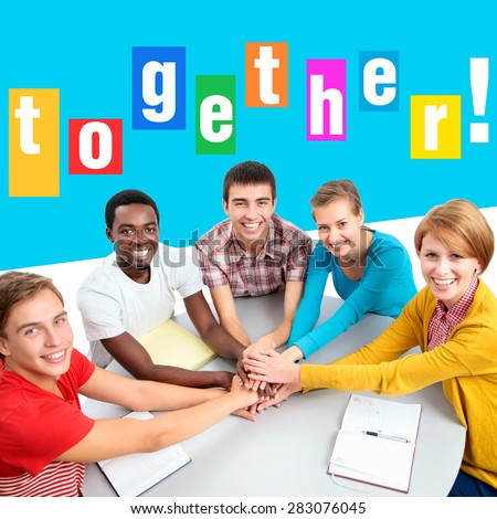 Bright collage of international group of students showing unity with their hands together - stock photo