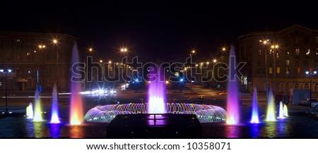 bright color fountain at night in Novosibirsk - stock photo