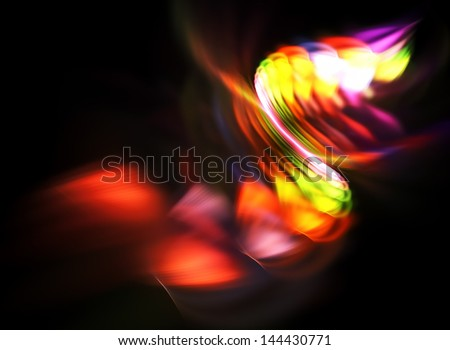 Bright color fractal abstraction on a black background - stock photo