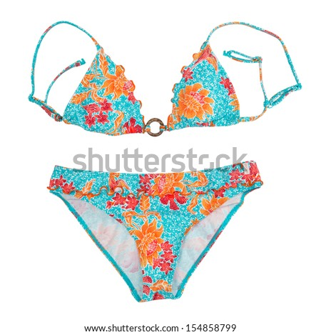 Bright color separate swimsuit. Isolate on white.