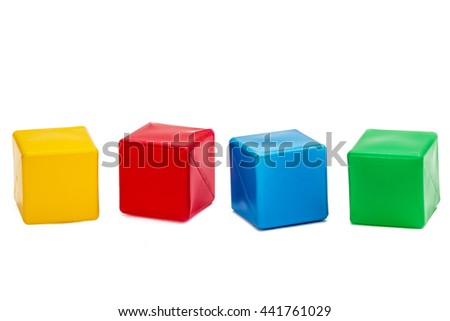 Bright colored children cubes, isolated on  white background