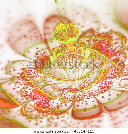 Bright colored fractal flower, digital artwork for creative graphic design