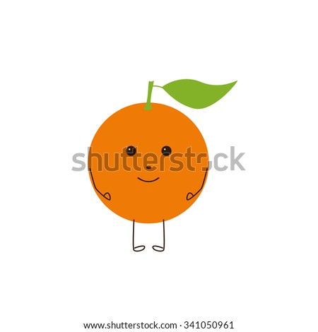 Bright colored orange fruit character with big green leave isolated on white background. Logo template, design element, vegetarian menu decoration. Flat style illustration - stock photo