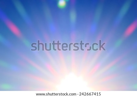 bright colored rays of  sun shine, abstract - stock photo