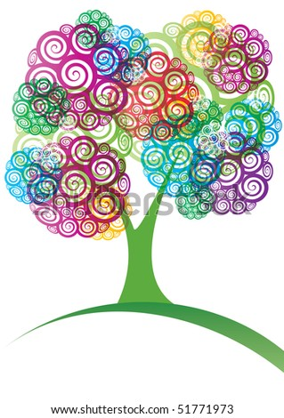 Bright colored spiral tree, illustration