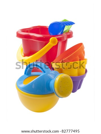 bright colored toy sandbox isolated on white