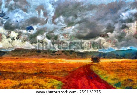 Bright colored valley and red road in Africa - Post impressionist Painting - stock photo