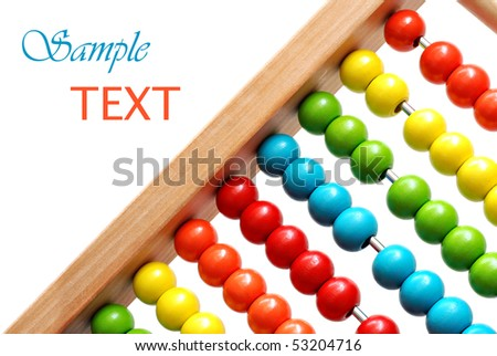 Bright colorful abacus on white background with copy space.