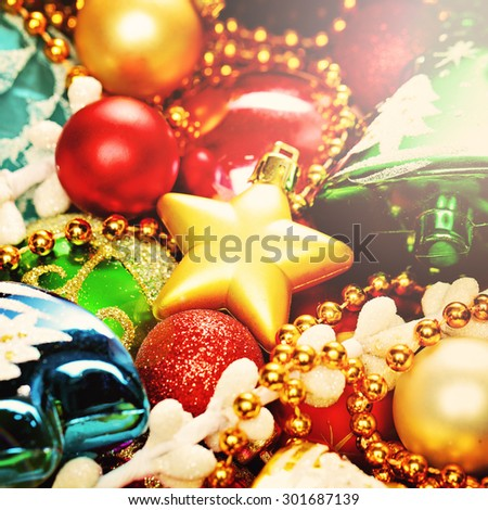 Bright Colorful Christmas Background with Xmas Decoration for Christmas Card - stock photo