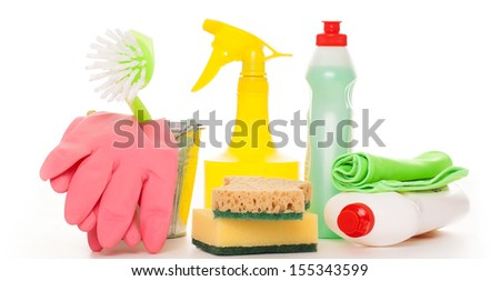 Bright colorful cleaning set isolated on a white background - stock photo