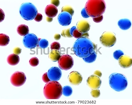 Bright colorful 3d spheres background - stock photo