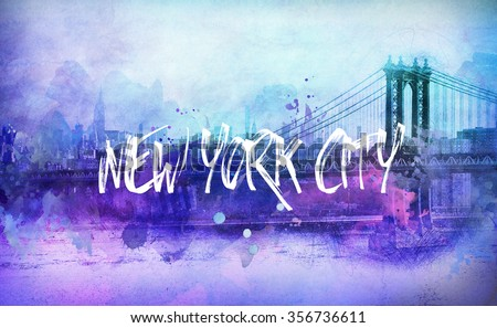 Bright colorful funky New York cityscape with Brooklyn Bridge in shades of purple with white text New York City superimposed - stock photo