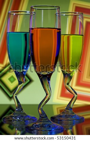 Bright colorful glasses with curved stems - stock photo