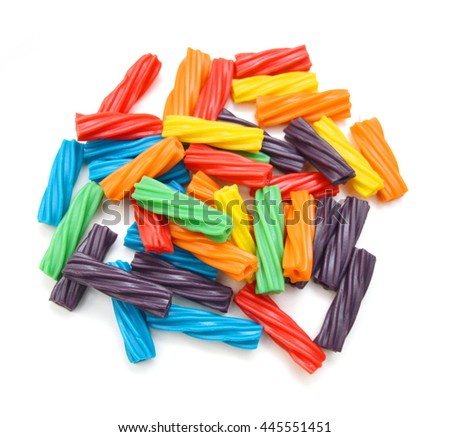 Bright colorful Licorice Candy shaped like a twisted rope