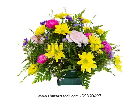 bright, colorful mixed flower arrangement in a floral design dish - stock photo