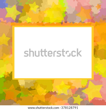 Bright colorful motley picture frame with stars - stock photo