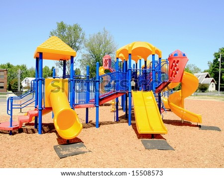 Bright colorful playground at a school yard