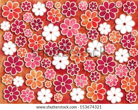 Bright colorful repeating flower pattern design graphic  - stock photo