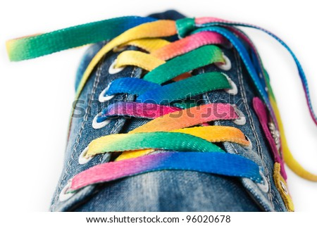 Bright colorful shoelace and sneakers.