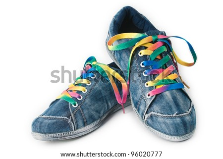 Bright colorful sneakers isolated on white background - stock photo