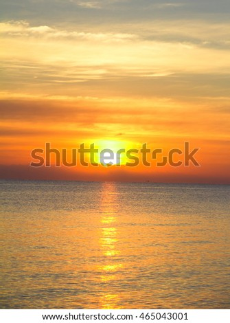 Bright Colorful Sunrise On The Sea With Beautiful Clouds