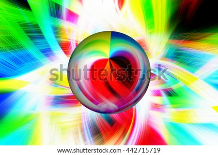 Bright colorful twist twirl with a 3d illustration orb circle oval red yellow green blue orange purple violet heart abstract art unique neon colors  - stock photo