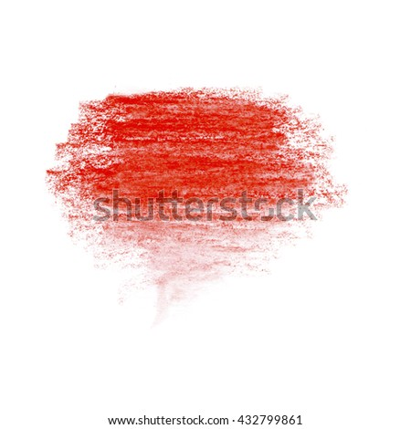 Bright colorful watercolor pencil hand drawn strokes spot background. Set of colorful crayon strokes isolated over the white background, colorful crayon spot. Red - stock photo