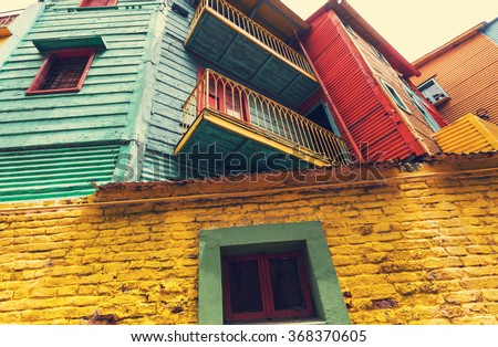 Bright colors of Caminito in La Boca neighborhood of Buenos Aires - stock photo