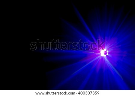 Bright coloured discotheque light shot in darkened room