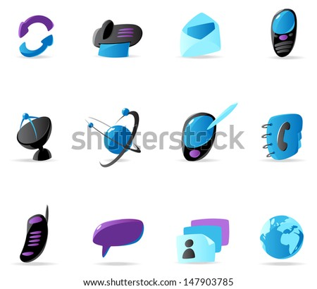 Bright communication icons. Raster version. Vector version is also available.