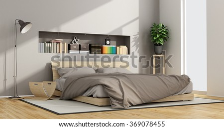 Bright Contemporary bedroom with wooden double bed and niche with objects - 3D Rendering - stock photo