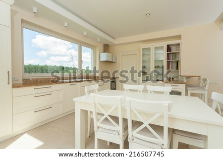 Bright contemporary kitchen with big white table