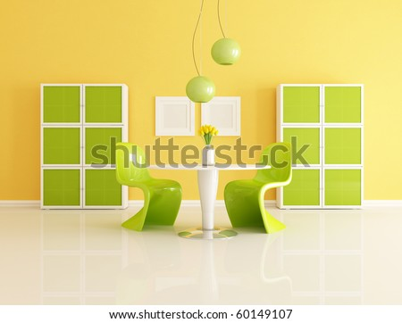 bright contemporary orange and green  living room - rendering - stock photo