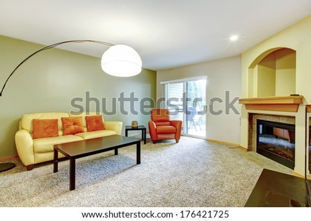 Bright contrast colors living room - stock photo