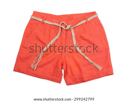 Bright coral shorts. Isolate on white.
