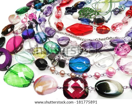 bright crystals beads fashion background - stock photo