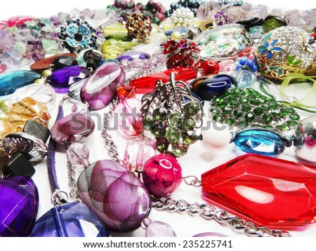 bright crystals beads fashion background
